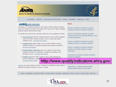 Screen Shot of the AHRQ Quality Indicators (QI) Web site