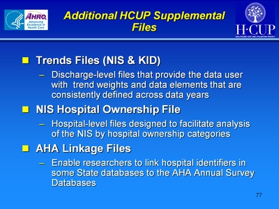 Additional HCUP Supplemental Files
