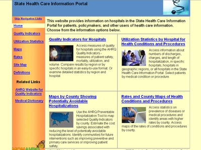 Screen Shot of the State Health Care Information Portal