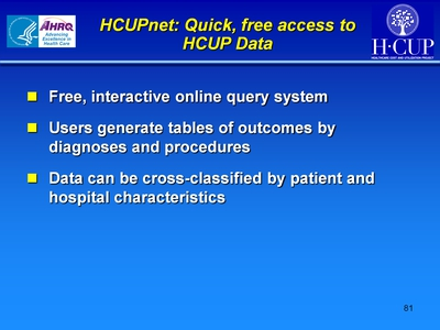 HCUPnet: Quick, free access to HCUP Data