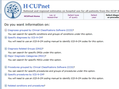 Screen Shot of an HCUPnet page asking the user what information they want