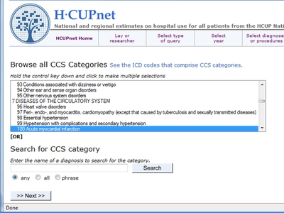 Screen Shot of an HCUPnet page for browsing or searching for CCS categories