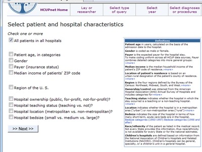 Screen Shot of an HCUPnet page for selecting patient and hospital characteristics