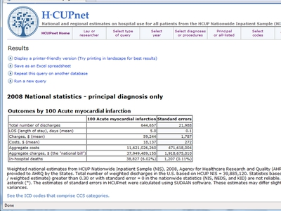 Screen Shot of HCUPnet results in tabular form
