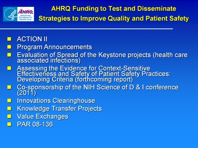 AHRQ Funding to Test and Disseminate Strategies to Improve Quality and Patient Safety