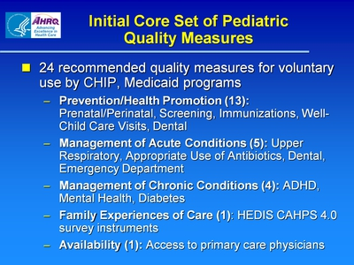 Initial Core Set of Pediatric Quality Measures