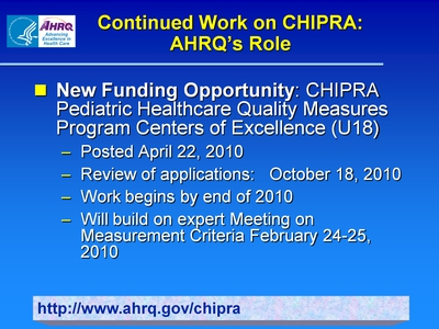 Continued Work on CHIPRA: AHRQ's Role