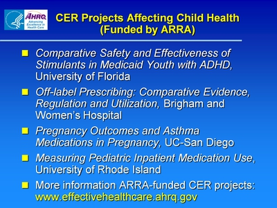 CER Projects Affecting Child Health (Funded by ARRA)