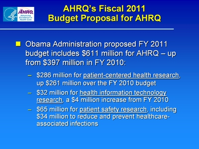 AHRQ's Fiscal 2011 Budget Proposal for AHRQ