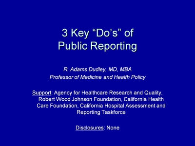 "3 Key ""Do's"" of Public Reporting"