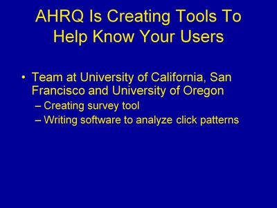AHRQ Is Creating Tools To Help Know Your Users