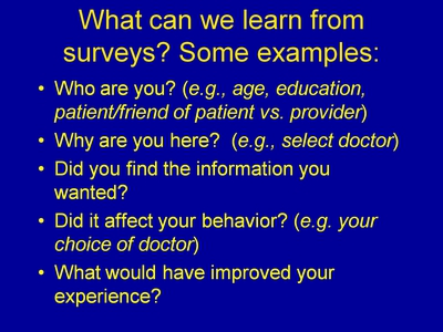 What can we learn from surveys? Some examples: