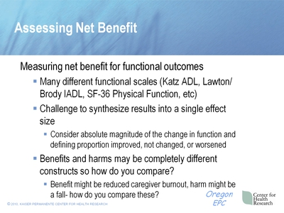 Assessing Net Benefit