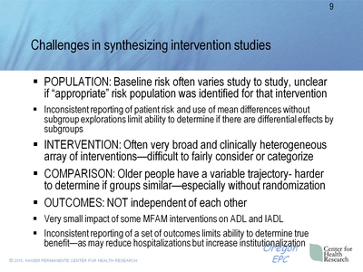 Challenges in synthesizing intervention studies