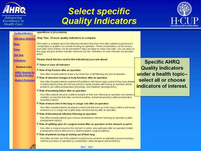Select specific Quality Indicators