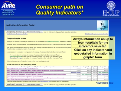 Consumer path on Quality Indicators*