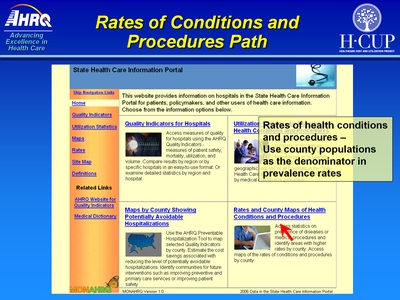 Rates of Conditions and Procedures Path