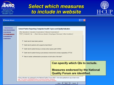 Select which measures to include in Web site