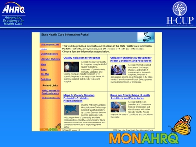 Screen Shot of the MONAHRQ State Health Information Portal