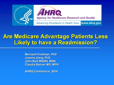 Are Medicare Advantage Patients Less Likely to have a Readmission?