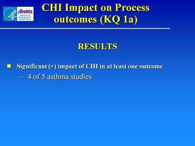 Slide 12. CHI Impact on Process outcomes (KQ 1a)