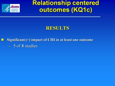 Slide 14. Relationship centered outcomes (KQ1c)