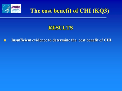 Slide 19. The cost benefit of CHI (KQ3)