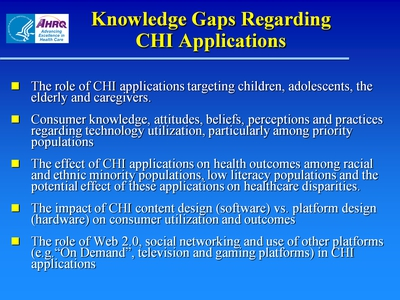 Slide 23. Knowledge Gaps Regarding CHI Applications