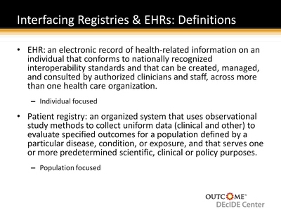 Interfacing Registries & EHRs: Definitions