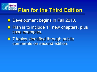 Plan for the Third Edition