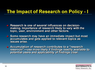 The Impact of Research on Policy-I