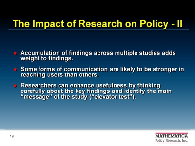 The Impact of Research on Policy-II