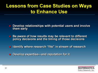 Lessons from Case Studies on Ways to Enhance Use