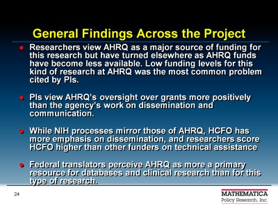 General Findings Across the Project