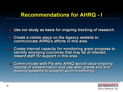 Recommendations for AHRQ-I