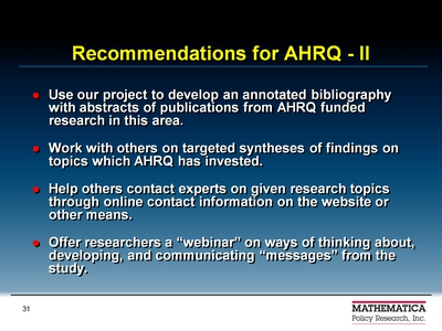 Recommendations for AHRQ-II