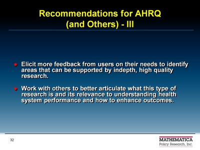 Recommendations for AHRQ-III