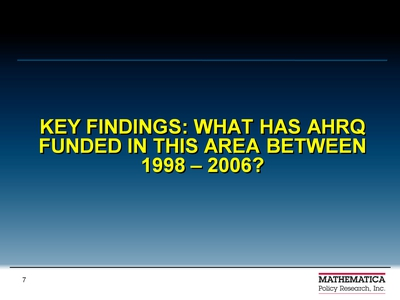 Key Findings: What has AHRQ Funded in this Area between 1998-2006?