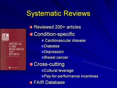 Slide 10. Systematic Reviews