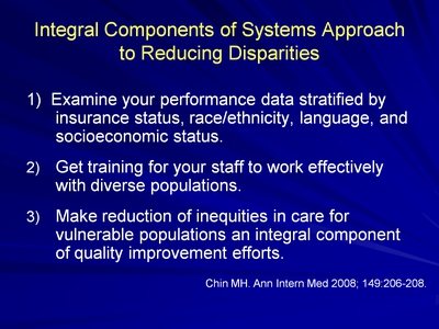 Slide 14. Integral Components of Systems Approach to Reducing Disparities