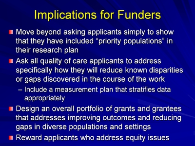 Slide 16. Implications for Funders