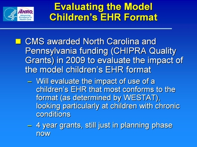 Evaluating the Model Children's EHR Format