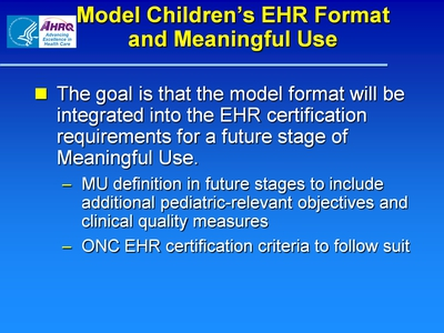 Model Children's EHR Format and Meaningful Use