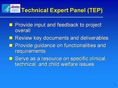 Technical Expert Panel (TEP)