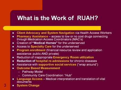 What is the Work of RUAH?