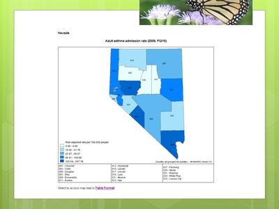 Map of Nevada that shows adult asthma admission rates by county