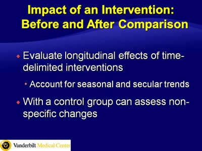 Impact of an Intervention: Before and After Comparison