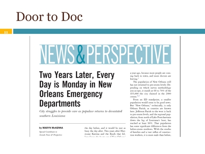 "Article: ""Two Years Later, Every Day is Monday in New Orleans Emergency Departments"""