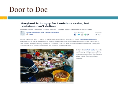 "Article: ""Maryland is hungry for Louisiana crabs, but Louisiana can't deliver"""