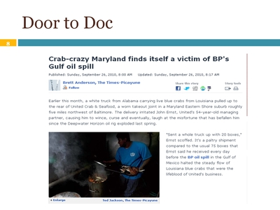 "Article: ""Crab-crazy Maryland finds itself a victim of BP's Gulf oil spill"""